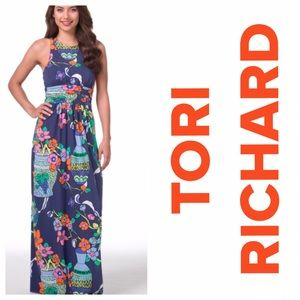 TORI RICHARD Valerie Maxi Dress in Ming Fling L